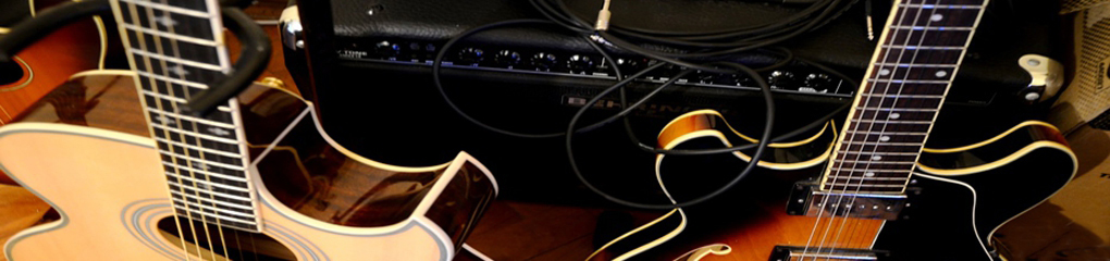 Home page banner guitar and amp